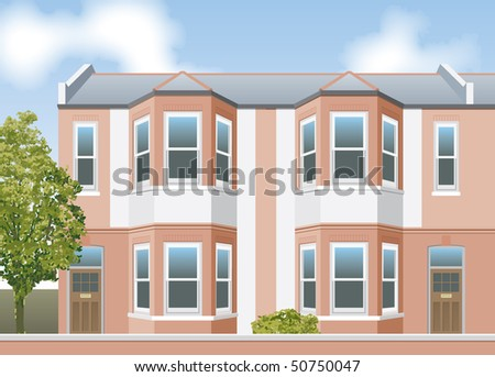 Victorian terrace houses - stock vector