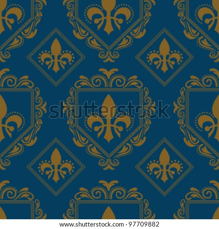 Victorian vintage ornate seamless background - stock vector