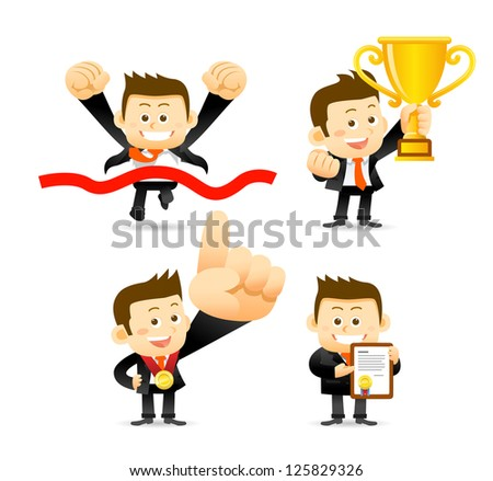 Victorious Businessman - stock vector