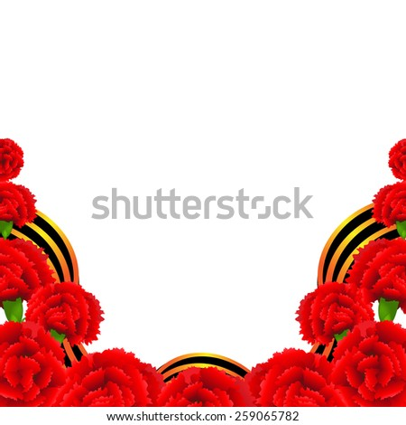 Victory Border With Red Carnations Border With Gradient Mesh, Vector Illustration - stock vector