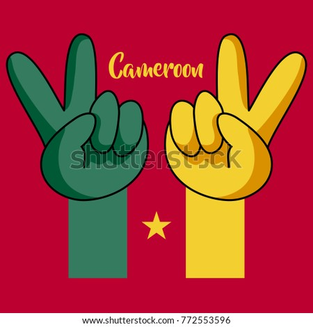 Victory hands. National flag of Cameroon. Vector illustration