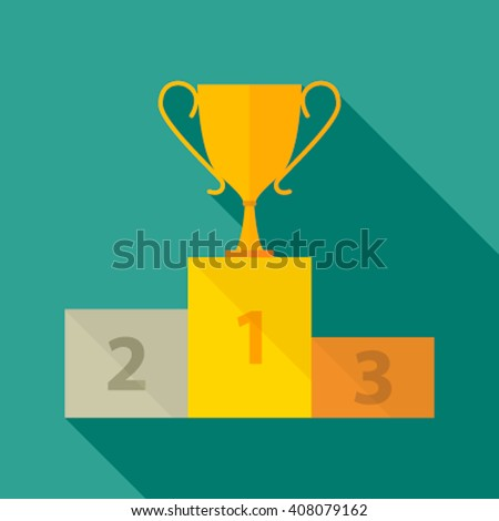 Victory Podium with first, second and third place . Vector illustration in a flat style. icon - stock vector