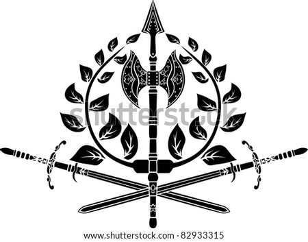 Victory symbol with axes, sword and laurel wreath - stock vector
