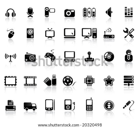 Video And Audio Vector Black Icon Set - stock vector
