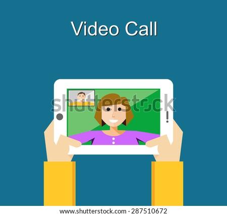 Video call illustration. Video call concept. flat design. - stock vector