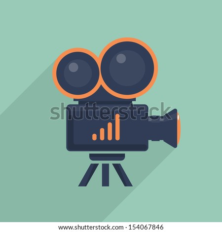 Video camera flat icon. Vector illustration - stock vector