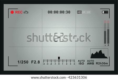 Video camera focusing screen - stock vector