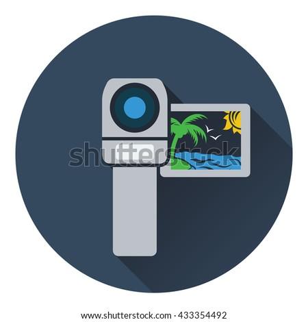 Video camera icon. Flat design. Vector illustration. - stock vector