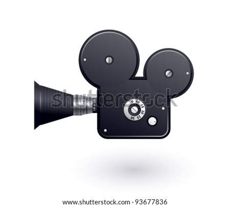 Video camera icon on a white background - stock vector