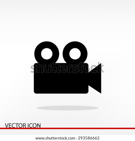 Video camera icon, vector illustration. Flat design style  - stock vector