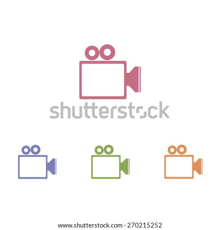 Video camera icons - stock vector