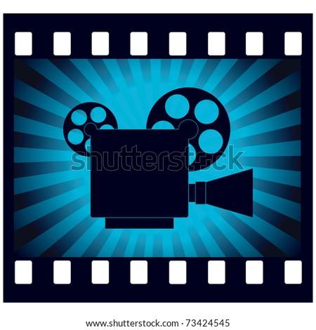 video camera on blue background vector illustration - stock vector
