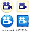 Video Camera on Stamp and Button Original Vector Illustration Buttons Collection - stock vector