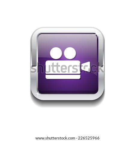 Video Camera Purple Vector Icon Button - stock vector