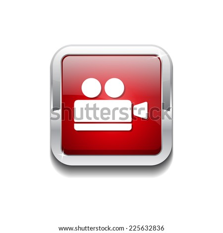 Video Camera Red Vector Icon Button - stock vector