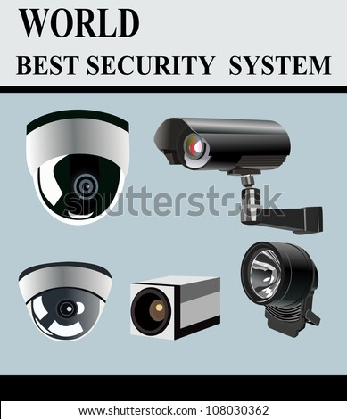 Video Camera Security System isolated - stock vector