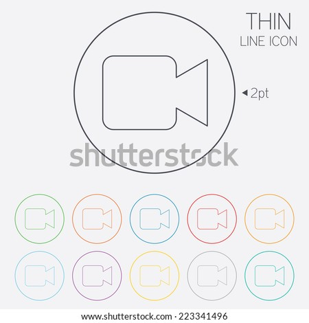Video camera sign icon. Video content button. Thin line circle web icons with outline. Vector - stock vector