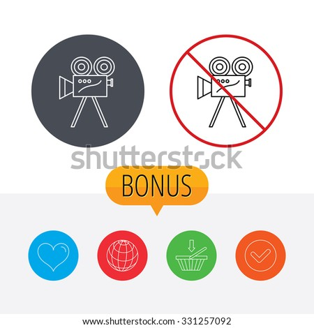 Video camera with reel icon. Retro cinema sign. Shopping cart, globe, heart and check bonus buttons. Ban or stop prohibition symbol. - stock vector