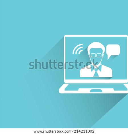 video conference, online business consulting on blue background - stock vector