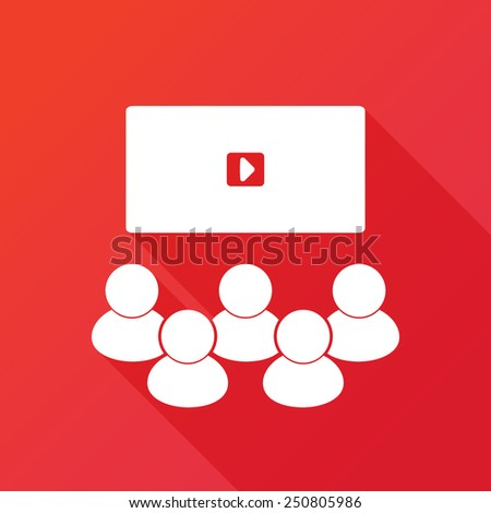 video conference, online meeting. Vector illustration flat design with long shadow - stock vector