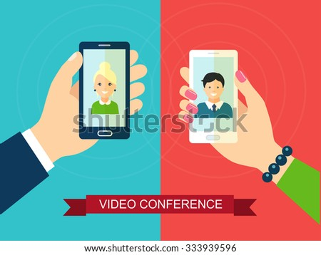 Video conference, virtual date. Vector flat illustration - stock vector