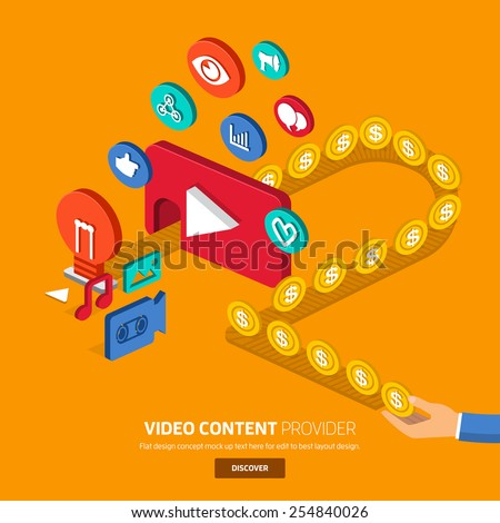 Video content marketing.Flat design concept for make momey with video.3d isometric vector. - stock vector