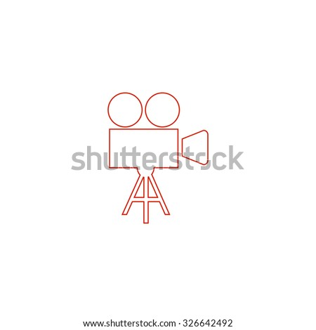 Video film camera. Red outline vector pictogram on white background. Flat simple icon - stock vector