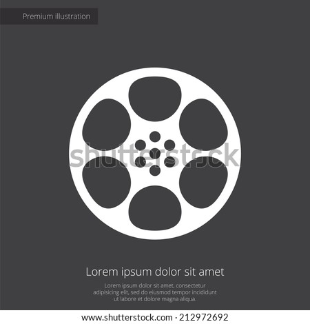 video film premium illustration icon, isolated, white on dark background, with text elements  - stock vector