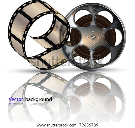 Video Film Roll Video Film Tape on Disc Vector