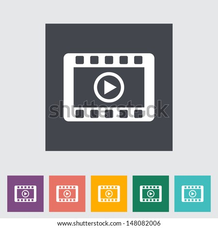 Video flat icon. Vector illustration. - stock vector