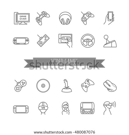 video game and joystick vector  icons