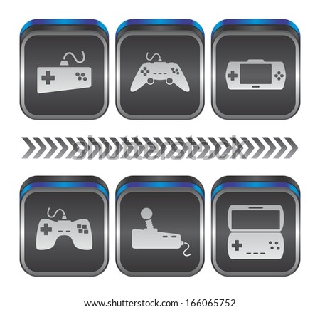 video game console metal plate button collection - stock vector