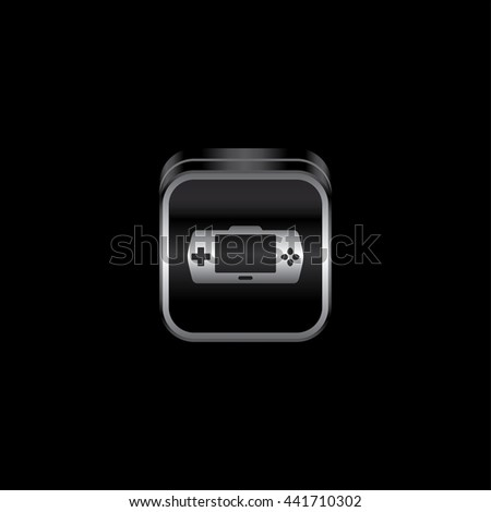 video game console metal plate game console theme icon button vector art illustration