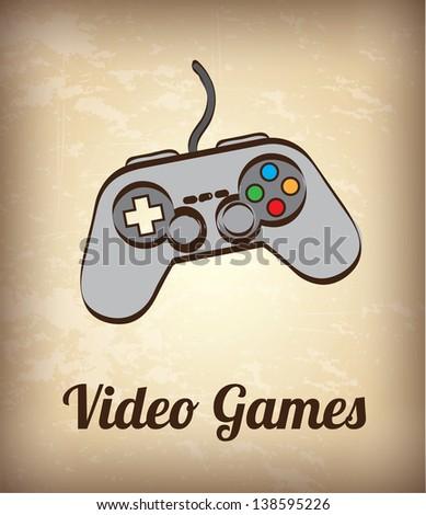 video game controller over vintage background vector illustration - stock vector