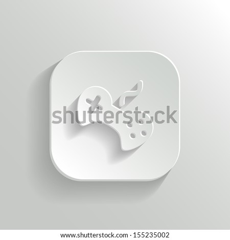 Video game icon - vector white app button with shadow - stock vector