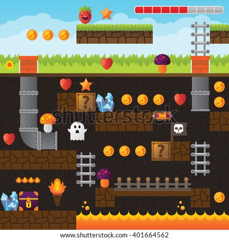 Video game interface design elements. Vector background and different blocks to construct your own game level. Vintage style game design. Underground level. Platform and arcade game design. - stock vector