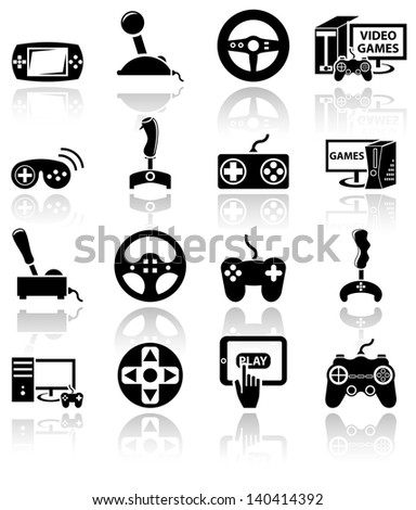 Video game vector icon set on gray.Eps 10 - stock vector