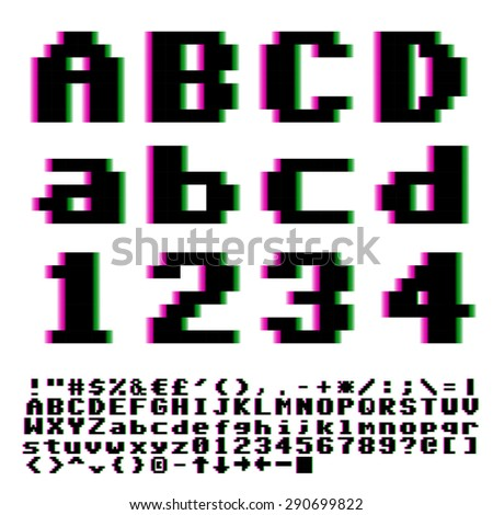Video games big pixels font with chromatic aberrations violet-cyan distortion. Vector. - stock vector