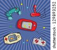 Video Games Icons ( Retro Consoles and controls), on blue background. Vector - stock vector