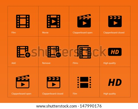 Video icons on orange background. Vector illustration. - stock vector