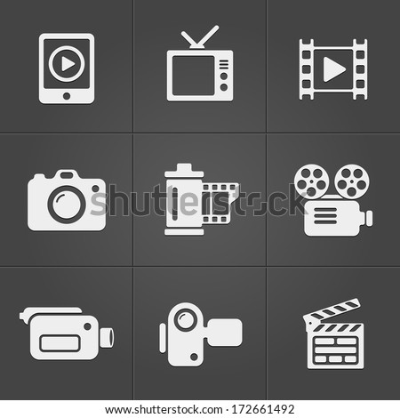 Video icons over black background. vector illustration - stock vector