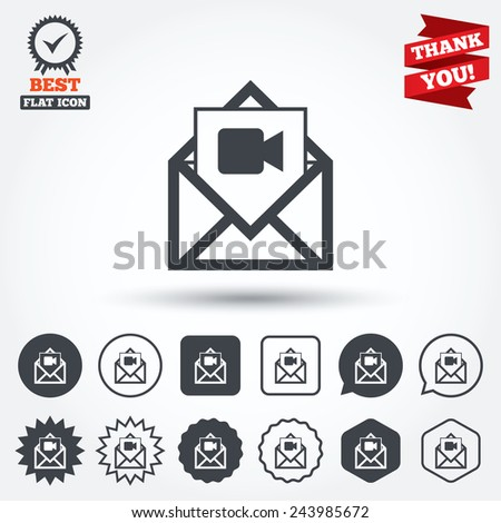 Video mail icon. Video camera symbol. Message sign. Circle, star, speech bubble and square buttons. Award medal with check mark. Thank you. Vector - stock vector