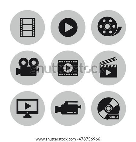Video movie and media icon set