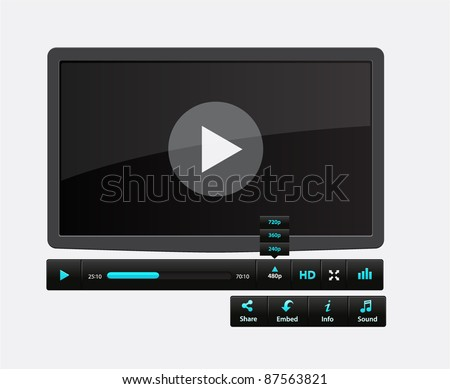 Video movie media player with icons - stock vector