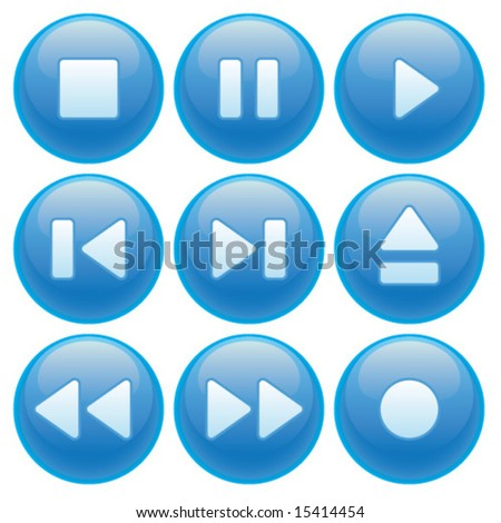 Video or audio media player control buttons.