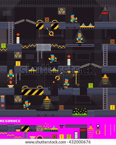 Video platform game interface design elements, Vector background and different blocks to construct your own game level,Seamless pattern of platform, Mobile game resource, Vector illustrator