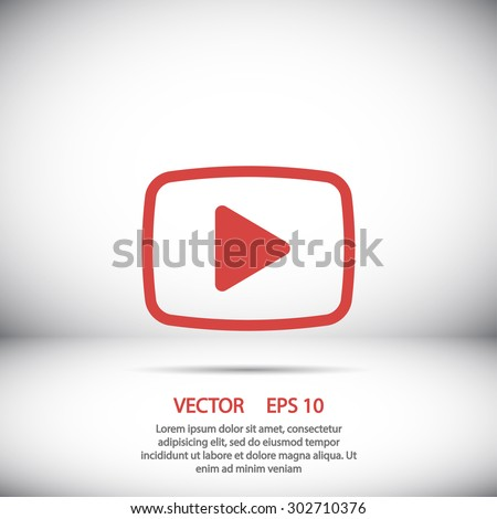 Video play icon vector eps 10 and jpg. Red Video play icon on a black background. - stock vector
