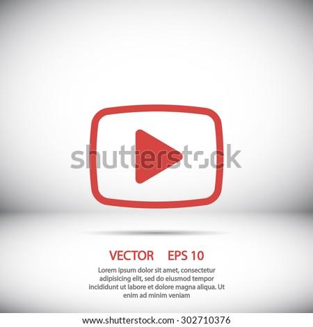 Video play icon. Video icon vector, video icon eps, video icon illustration, video icon jpg, video icon picture, video icon flat, video icon design, video icon web, video icon shadow, red video icon - stock vector