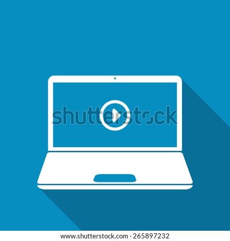 Video Playback In Laptop - stock vector