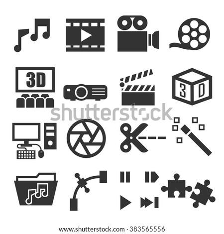 video player, audio, media icon set - stock vector